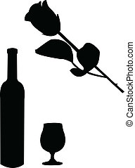 víno, a, růže, ilustrace