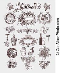 víno, a, winemaking, vinobraní, set.