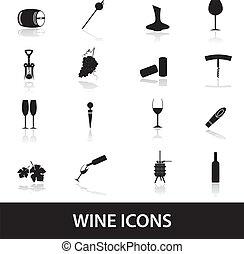 víno, ikona, eps10
