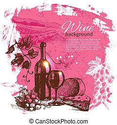 víno, vinobraní, grafické pozadí., rukopis, nahý, illustration., kaluž, kapka, za, design
