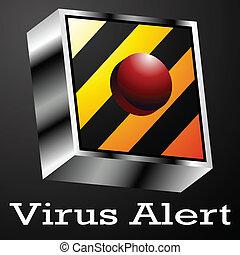vírus, alerta, botão