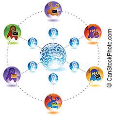 vírus, blob, email, diagrama, ícone, jogo