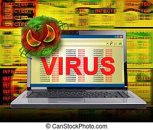 vírus, computador, infecção, internet