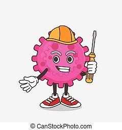 vírus, cor-de-rosa, técnico, personagem, caricatura, esperto, mascote