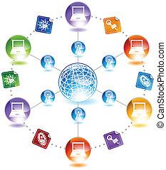 vírus, email, diagrama, ícone, jogo