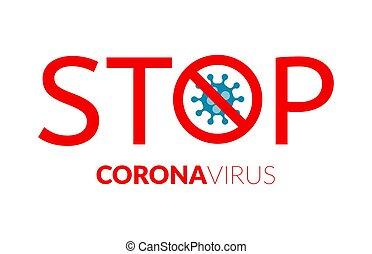 vírus, korona, vektor, belsőrész., corovavirus, aláír, abbahagy, concept., covid-19, megállítás, figyelmeztetés, pandemia, poster.