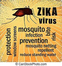 vírus, palavra, pernilongo, nuvem, zika