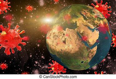 vírus, -, perigo, coronavirus, fundo, terra, ataque, 3d, ...