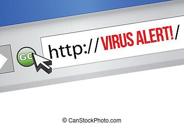 vírus, sinal, alerta, browser