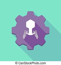 vírus, sombra, engrenagem, longo, ícone