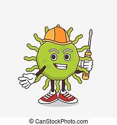 vírus, verde, técnico, personagem, caricatura, esperto, mascote