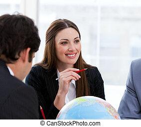 vítězný, business četa, obout si, jeden, brainstorming, kolem, expanze