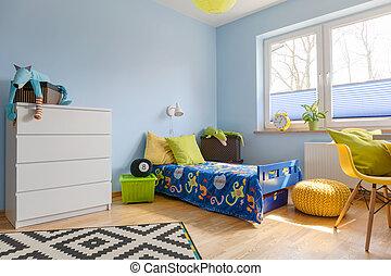 vívido, colores, en, un, niño, habitación