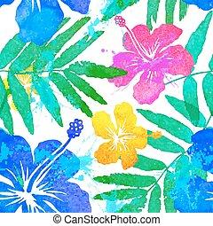 vívido, colores, flores tropicales, vector, seamless, patrón