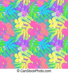 vívido, patrón, hojas, seamless, tropical, vector, flores
