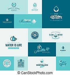 víz, állhatatos, ikonok, természet