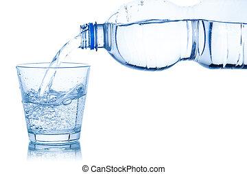 víz, öntés, fehér, elszigetelt, pohár