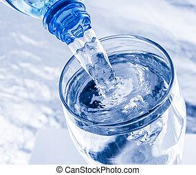 víz, öntés, palack, pohár
