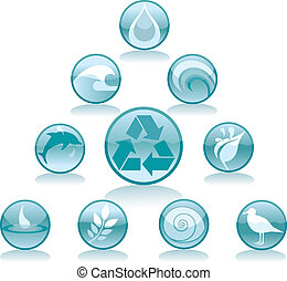 víz, újrafelhasználás, ikonok