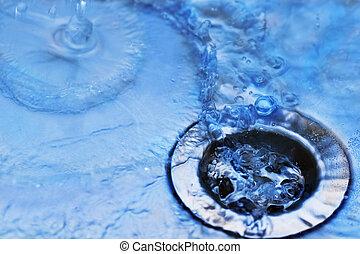 víz, alatt, mosogató