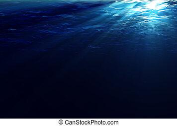 víz alatti, csillogó rays
