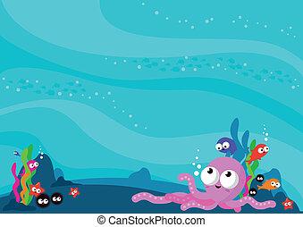 víz alatti, háttér, ábra, animals., vektor, tenger