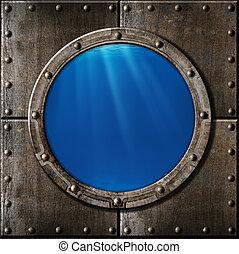 víz alatti, rozsdaszínű fém, hajóablak