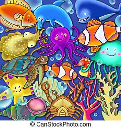 víz alatti, színes, színhely, tenger élet, karikatúra