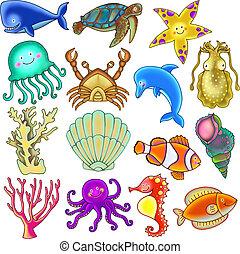víz alatti, tenger élet, gyűjtés, karikatúra, csinos