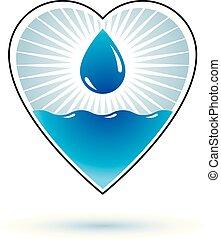 víz, alkalmaz, vektor, marketing, elvont, jelkép., környezet, oltalom, tervezés, tiszta, jel, concept.