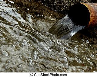 víz, artézi, folyik