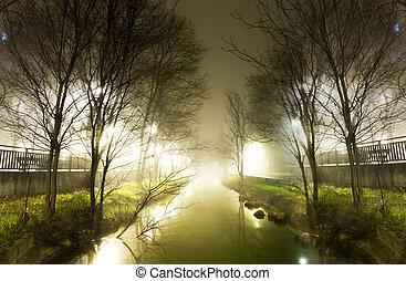 víz, csatorna, éjjel