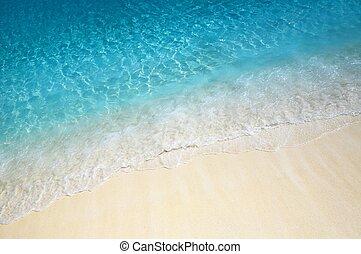 víz csobog, közel, a, tengerpart