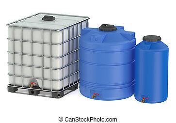víz, csoport, tartály, műanyag