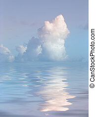 víz, derült, felett, felhő