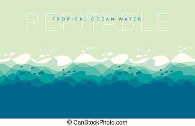 víz, elvont, pattern., tenger, lenget