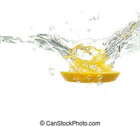 víz, esés, citrom