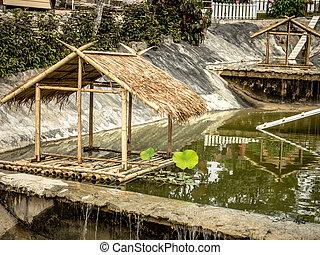 víz, felett, bungaló