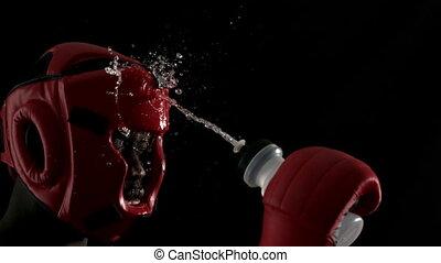 víz, felett, szívós, öntés, maga, bokszoló