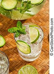 víz, felfrissítő, jég, lime