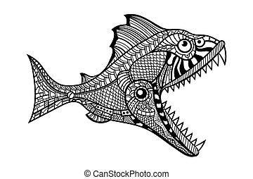 víz, fish, ragadozó, mély, támadó