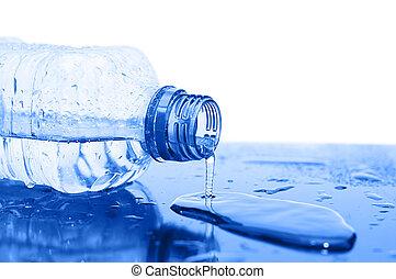 víz, folyik, palack
