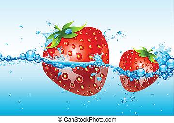 víz, friss eper