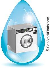 víz gép, csepp, mosás