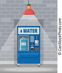 víz gép, ivás, árul, automata