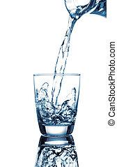 víz, háttér, öntés, pohár, fehér