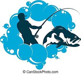 víz, halász, rúd, halászat