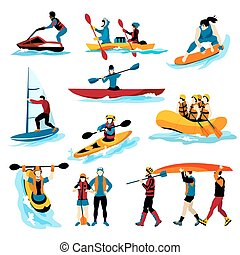víz, ikonok, szín, emberek, extreme sport