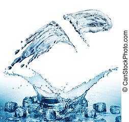 víz, kék, loccsanás, háttér