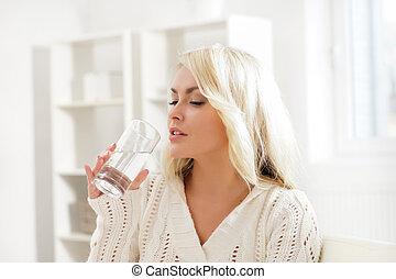 víz, kényelem, bájos, leány, ivás, morning.